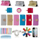 Bling Diamond PU Leather Flip Wallet Stand Case Cover Skin For iPhone 4 4G 4S