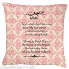 Sister Poem Cushion Pink Damask | Shabby Chic | Gift | Personalised | Birthday