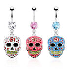 Epoxy Sugar Skull Belly Ring Pierced Navel Day Dead CZ Gem White, Pink, Blue
