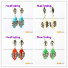nicefinding Marquise bead Marcasite silver dangle stud hoop earring  for gift
