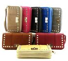 Double Zipper Zip-around Studded Wristlet Wallet Black Brown Pink Blue Wine Gold