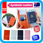 Travel Wallet Passport Holder Ticket Case Cover Clip Pouch Synthetic Leather H2
