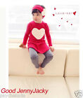 Spring Cute Outfit Set of 3PCS Heart Top+Head Band+Bottom Baby Kids Girls Cotton