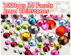 1000pcs Shiny Flatback 14 Facets Resin Rhinestone Gems Nail Art Tips 2mm Decor