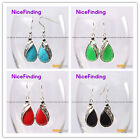 Fashion 14x30mm drip beads silver Marcasite dangle earrings for ladies gift