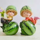 Romping kids on watermelons - set of 2 - poly resin figurines