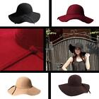 Elegant Lady Wool Felt Bowknot Floppy Cloche Bowler Fedora Wide Brim Hats New