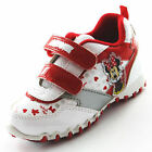 CUTE NEW LITTLE GIRLS MINNIE MOUSE SAN DIEGO RED WHITE VELCRO TRAINERS ~Sz 11 12
