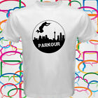 New PARKOUR jump high Free Running Extreme Sport  Men's White T-Shirt Size S-3XL