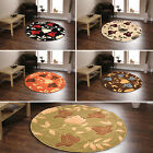 LARGE FLOWER PATTERN BROWN BLUE RED BEIGE ORANGE COLOURED CIRCLE ROUND FLEUR RUG