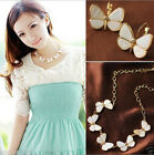 Fashion Vintage Retro 18K Gold Plated Wedding Butterfly Necklace + Ear Rings