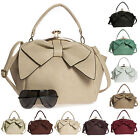 New Kisslock Closing Bow Detail Plain Colour Multiple Strap Satchel Handbag