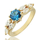 Round Cut 18K Yellow Gold Filled Fashion Jewelry Ladies Ring Size 6/7/8