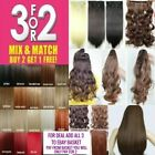 Claw Ponytail Piece Hair Extension pale dark blonde dark brown black plum Red