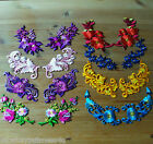 Iron on Patch - Flower Floral - Embroidered - 1 Pair(2 Pieces) Applique