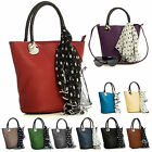 Big Handbag Shop Womens Designer Top Handle Bucket Shape Scarf Satchel Bag