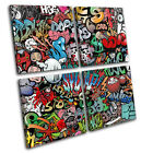 Funky Abstract Graffiti MULTI CANVAS WALL ART Picture Print VA