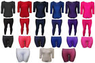 Girls Kids Dance Ballet Swim Shiny Top Leotard Stretch Full Length Plain Legging