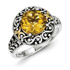 Sterling Silver w/ 14k Yellow Gold Citrine Vintage Ring. Metal Wt- 4.11g