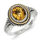 Sterling Silver w/ 14k Yellow Gold Citrine Vintage Ring. Metal Wt- 7.03g