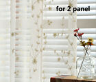 2X Custom Floral Embroidered White Sheer Curtain Panel French Country Cottage