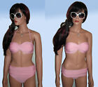 Pink Multiway Strapless / Halterneck Pushup Bandeau Bikini with Moulded Cups