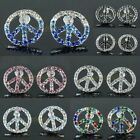 Pair Crystal Rhinestone Peace No-War Anti-War Sign Stud Ear Earrings Jewelry