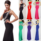 1 Shoulder Slim Bead Evening Wedding Cocktail Party Full Length Ball Prom Dress
