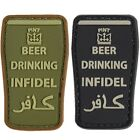 INFIDEL VELCRO PATCH BEER DRINKING PINT MILITARY HUMOUR