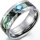 8mm Tungsten Carbide Ring w Abalone Shell Inlaid Beveled Edge Mens Womens Band image