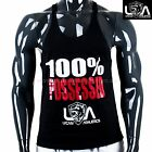MENS RACERBACK POSSESSED MUSCLE GYM SINGLET Stringer black Tank t back singlets