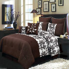 8pc Royal Tradition Bliss Brown Luxury Bed in a Bag Comforter Set