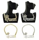 "NEW CELEBRITY STYLE 'QUEEN' PENDANT &10mm/16"" LINK CHAIN FASHION NECKLACE RN1022"