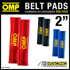 "DB/450 OMP RACING SEAT BELT HARNESS PADS PAIR 2"" WIDTH in RED / BLACK / BLUE"