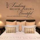 MARILYN MONROE Keep Smiling Life is Beautiful Art Quote Wall Stickers Wall Decal