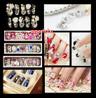 1 Box 24 Tips Hand Made Wedding Nail False Tips Rhinestones Beads Nail Art Tips