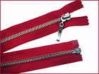 RED ZIP/ METAL SILVER TEETH OPEN ENDED.Different Sizes.(74-45 cm)