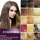 FULL HEAD SET HIGHLIGHTS ONE PIECE 8PCS CLIP IN HAIR EXTENSIONS ALL COLOURS UK