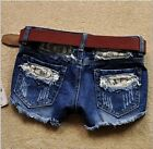 Sexy Style Women Ripped Denim Lace Jeans Short Lady Trousers Boots Pant S M L XL
