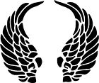 "Angel Wings Curled - 4.5"" x 3.75"" - Choose Color - Vinyl Decal Sticker #2331"