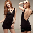 Fashion Women's Sexy Sequins Deep V Neck Backless Hip Package Party Mini Dress