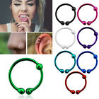 Fake Piercing Color Plated Sterling Silver Nose Clip Hoop 10mm w/ 2mm Ball Set