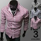 Mens Luxurious Stripes Long Sleeve Casual Slim Fit Stylish Dress Shirts 3 Colors