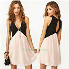 Fashion Sexy Lady Women's Stitching Color Deep V Sleeveless Vest Skirt Dress New