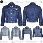 Womens Ladies Coat Studded Cropped Waistcoat Outerwear Denim Jeans Jacket Top