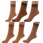 6 x Ladies Women 100% Nylon 15 Denier Anklet Pop Socks with Comfort Top