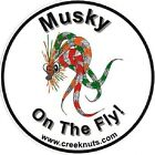 """FLY FISHING BUMPER STICKERS Musky on the Fly muskie 5"""" & 3"""" circles Decals Flies"""