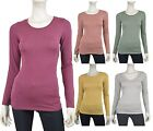 Long Sleeve Womens Round Neck Basic Heather Color Long Sleeve Top T-Shirt -S M L