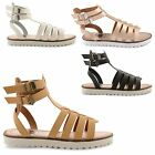 NEW LADIES FLAT OPEN TOE BUCKLE STRAP GLADIATOR SUMMER EVENING SANDALS SIZE 3-8