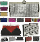 Womens Chain Beaded Crystal Party Clutch Evening Ladies Shoulder Bag handbag